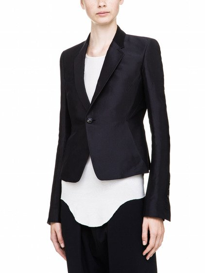 RICK OWENS SHORT BLAZER IN BLACK SILK