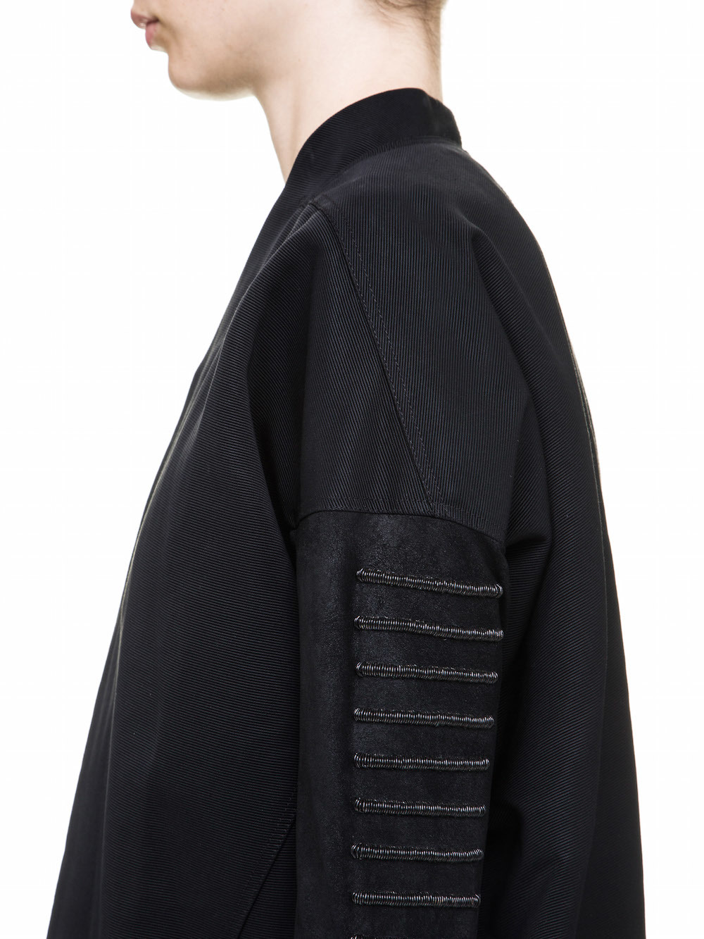 RICK OWENS DAGGER PEA COAT IN BLACK