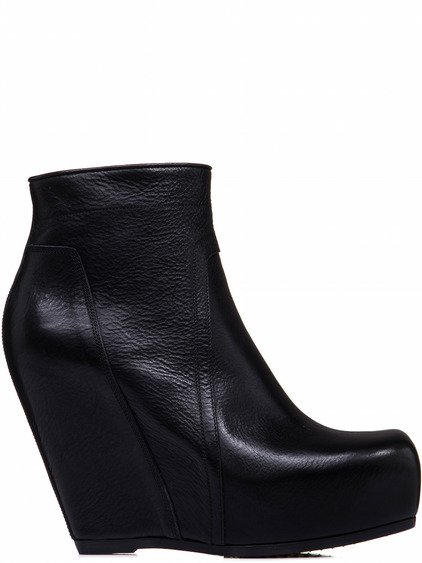 RICK OWENS ZIP WEDGES IN BLACK LEATHER