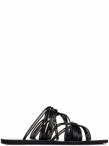 RICK OWENS TANGLE SLIDE SANDALS IN BLACK