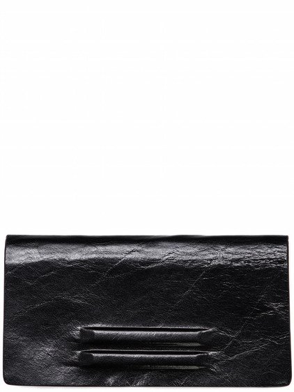 RICK OWENS FLAT WALLET MEDIUM IN BLACK LEATHER