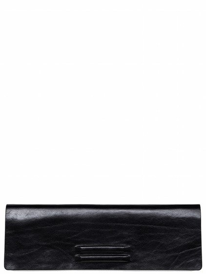 RICK OWENS FLAT CLUTCH IN BLACK BULL LEATHER