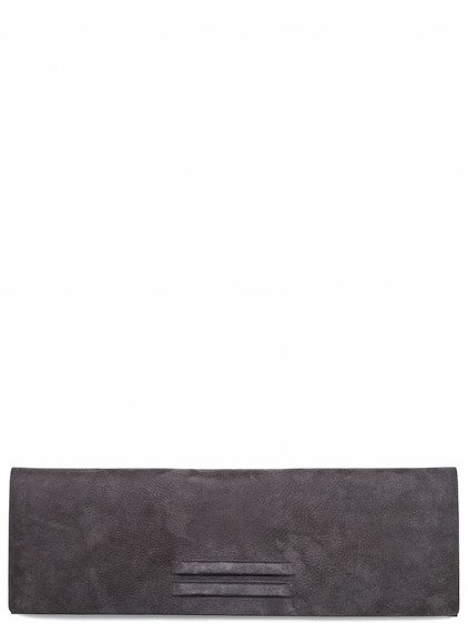 RICK OWENS UNLINED FLAT CLUTCH IN GREY LEATHER