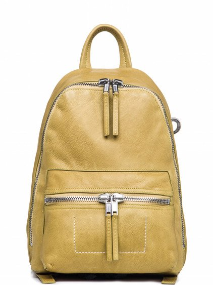 RICK OWENS MINI BACKPACK IN ACID YELLOW LEATHER
