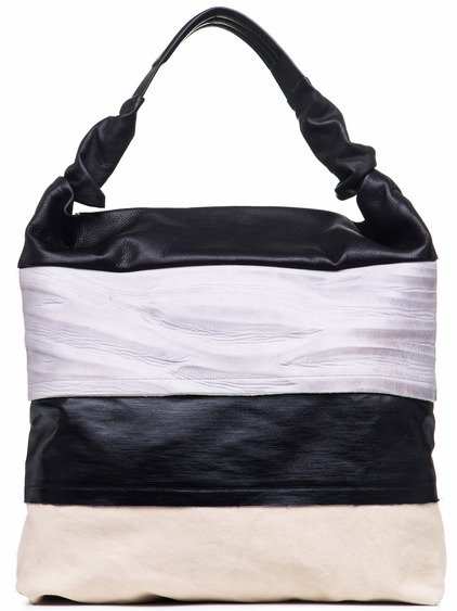 RICK OWENS MEGA ADRI BAG IN BLACK, PURPLE, WHITE LIGHT STRIPES