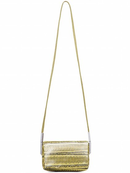 RICK OWENS MICRO ADRI BAG IN ACID YELLOW SNAKE SKIN