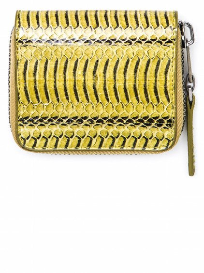 RICK OWENS ZIPPED CREDIT CARD HOLDER IN ACID YELLOW SNAKE SKIN