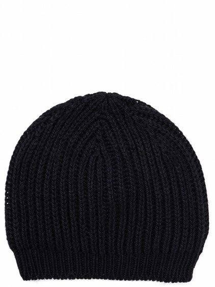 "RICK OWENS HAT IN BLACK ""FISHERMAN"" SILK KNIT"