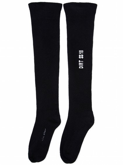 RICK OWENS SS18 DIRT KNEE HIGH SOCKS IN BLACK COTTON