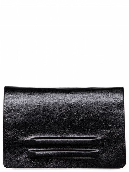 RICK OWENS UNLINED FLAT WALLET SMALL IN BLACK BULL LEATHER