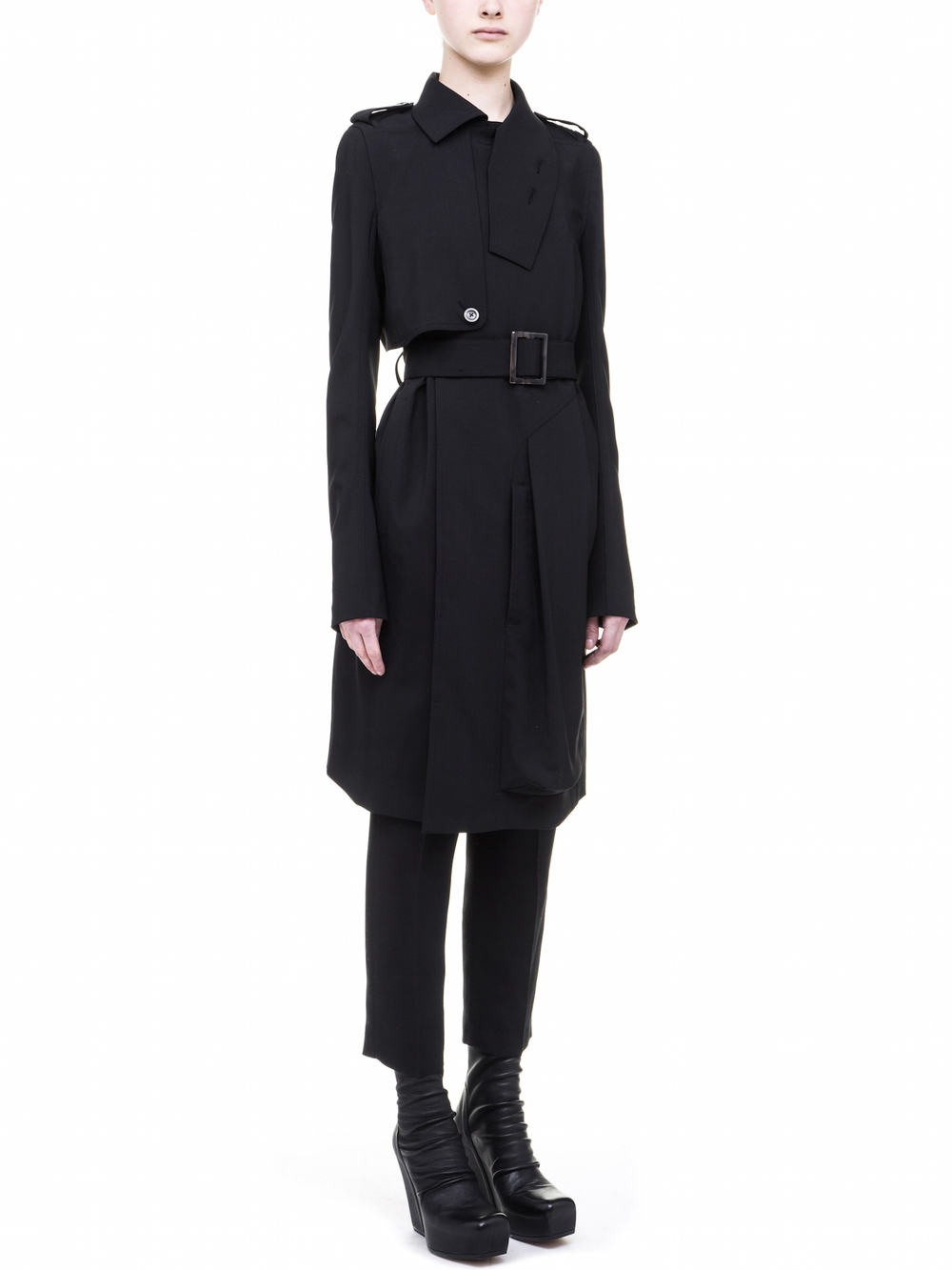 RICK OWENS TRENCH IN BLACK
