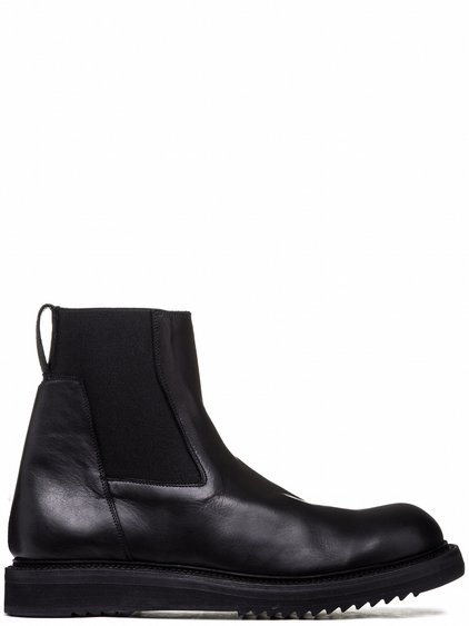 RICK OWENS ELASTIC CREEPER BOOTS IN BLACK CALF LEATHER