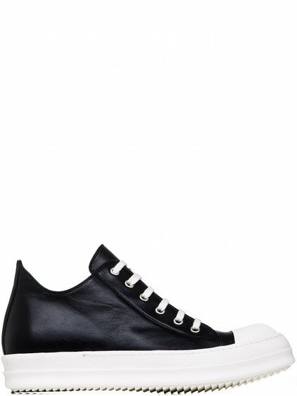 RICK OWENS LOW SNEAKERS IN BLACK CALF LEATHER