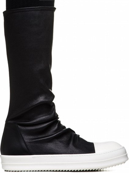 RICK OWENS SOCK SNEAKERS IN BLACK LEATHER
