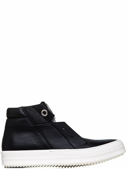 RICK OWENS ISLAND DUNK PULL-ON SHOES IN BLACK CALF LEATHER
