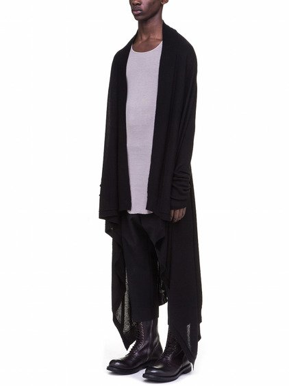RICK OWENS LONG WRAP IN BLACK CASHMERE