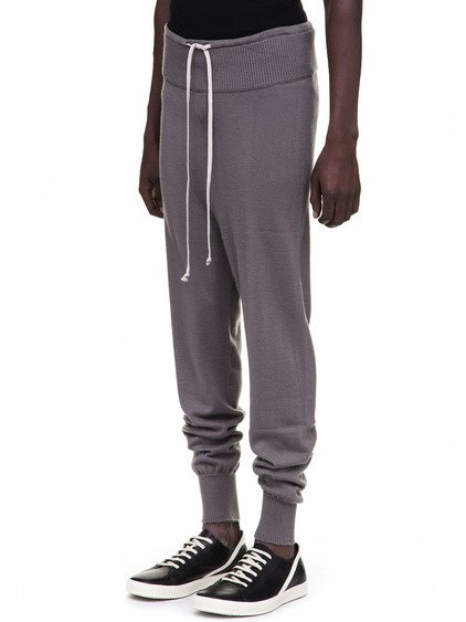 RICK OWENS DRAWSTRING LONG PANTS IN GREY CASHMERE