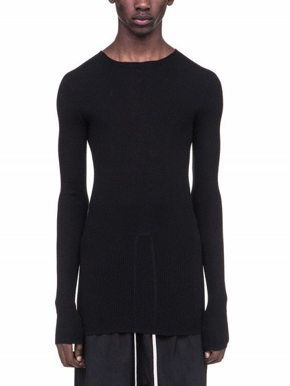 RICK OWENS RIBBED ROUND NECK SWEATER IN BLACK WOOL