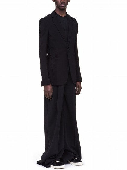 RICK OWENS SOFT DRAPED BLAZER IN BLACK WOOL