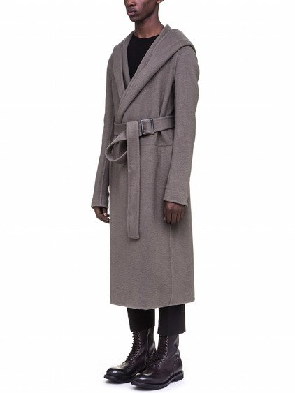 RICK OWENS HOODED COAT IN GREY DOUBLE CASHMERE