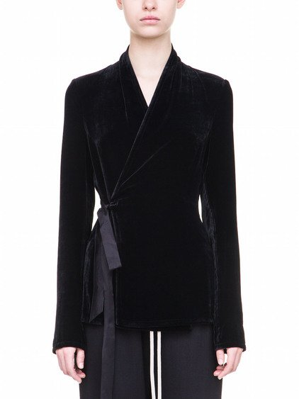 RICK OWENS WRAP LONG SLEEVES TOP IN BLACK VISCOSE AND SILK
