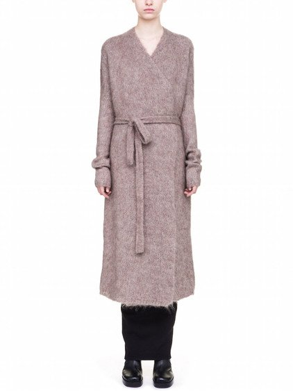 RICK OWENS  BATHROBE IN BEIGE BRUSHED MOHAIR
