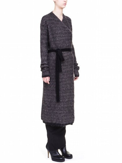 RICK OWENS BATHROBE IN BEIGE AND BLACK BRUSHED MOHAIR