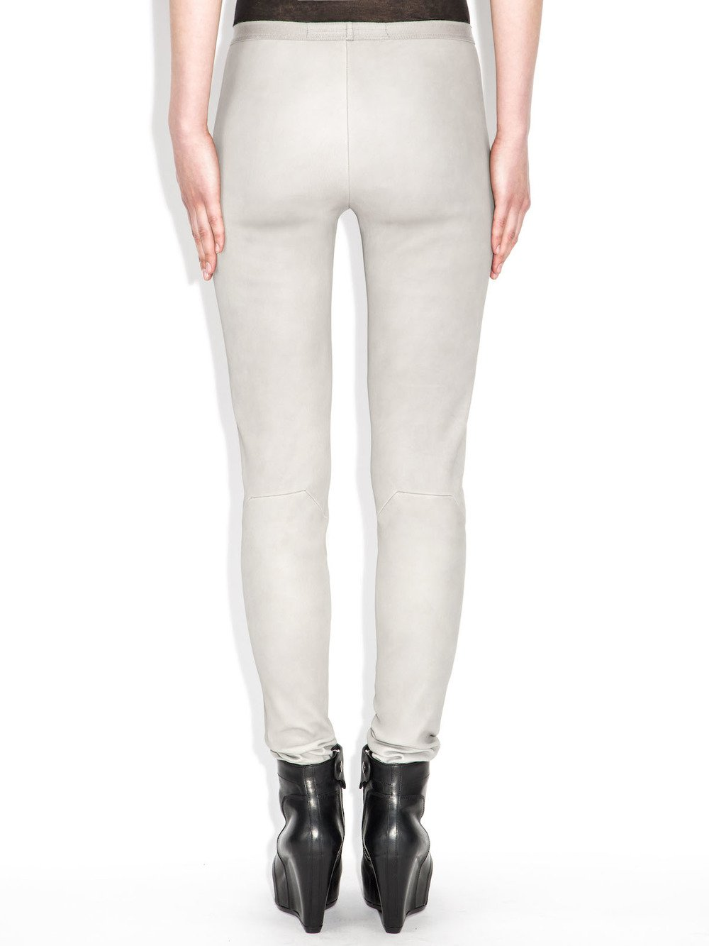rick owens grey leather leggins