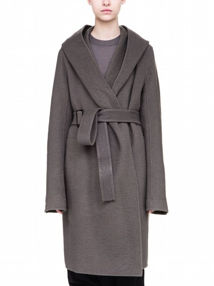RICK OWENS HOODED TRENCH IN GREY