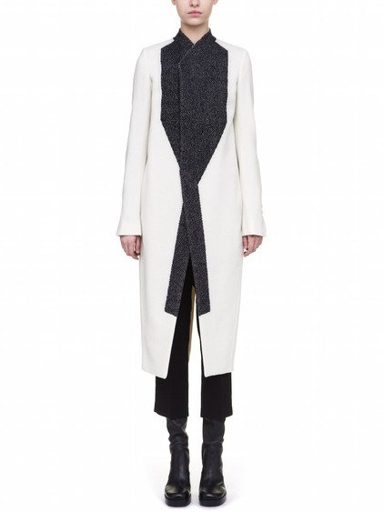 RICK OWENS NEW TUSK COAT IN WHITE  AND BLACK WOOL