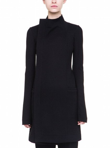 RICK OWENS EILEEN COAT IN BLACK HEAVY STRETCH WOOL