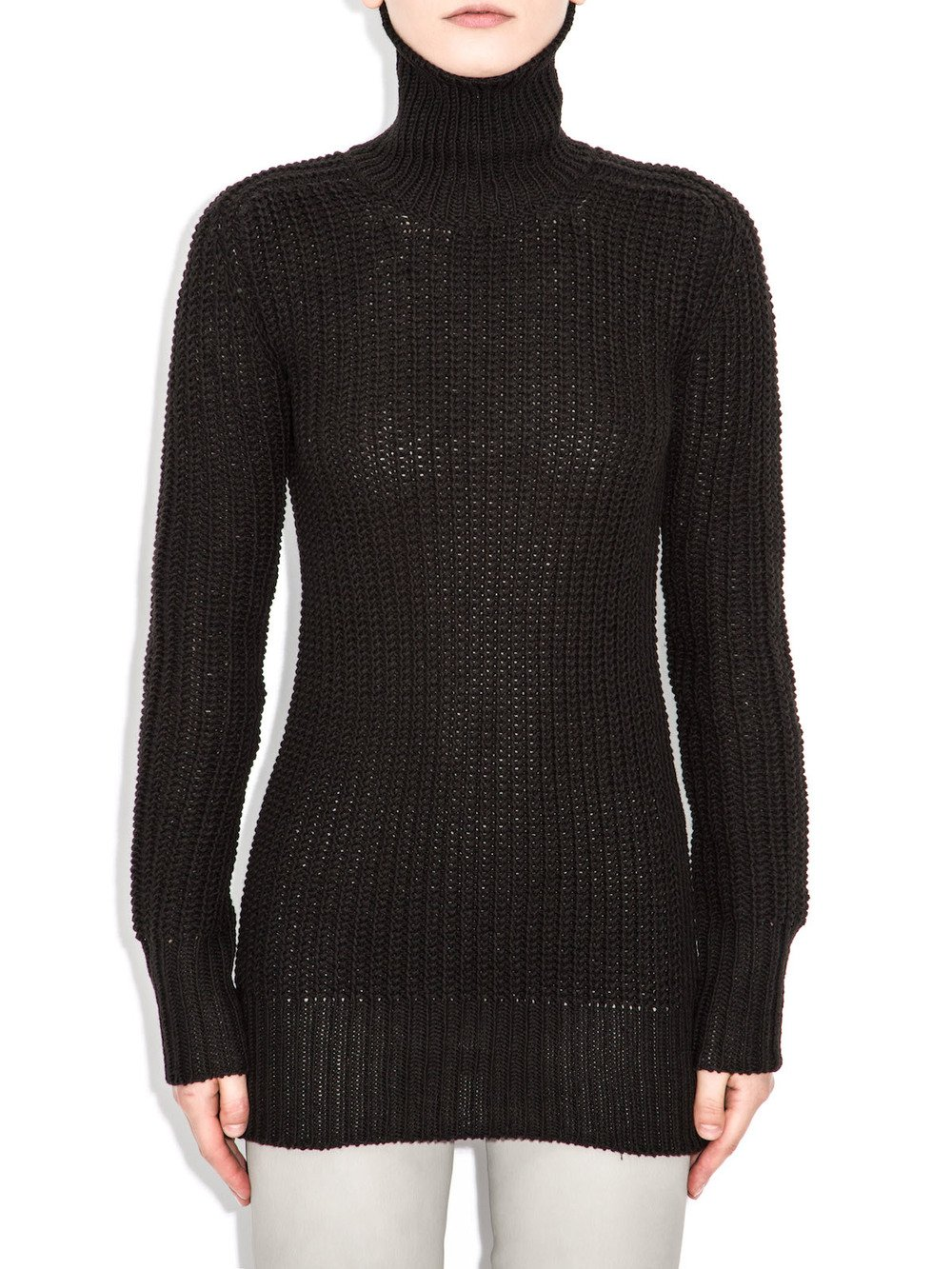 rick owens black turtleneck sweater