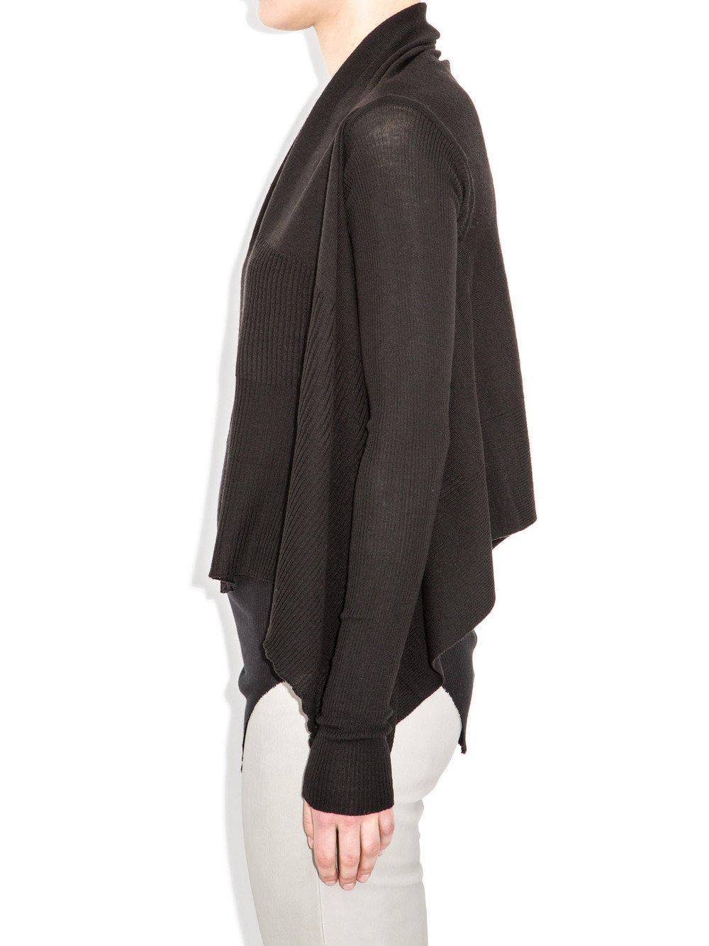 rick owens black short wrap sweater