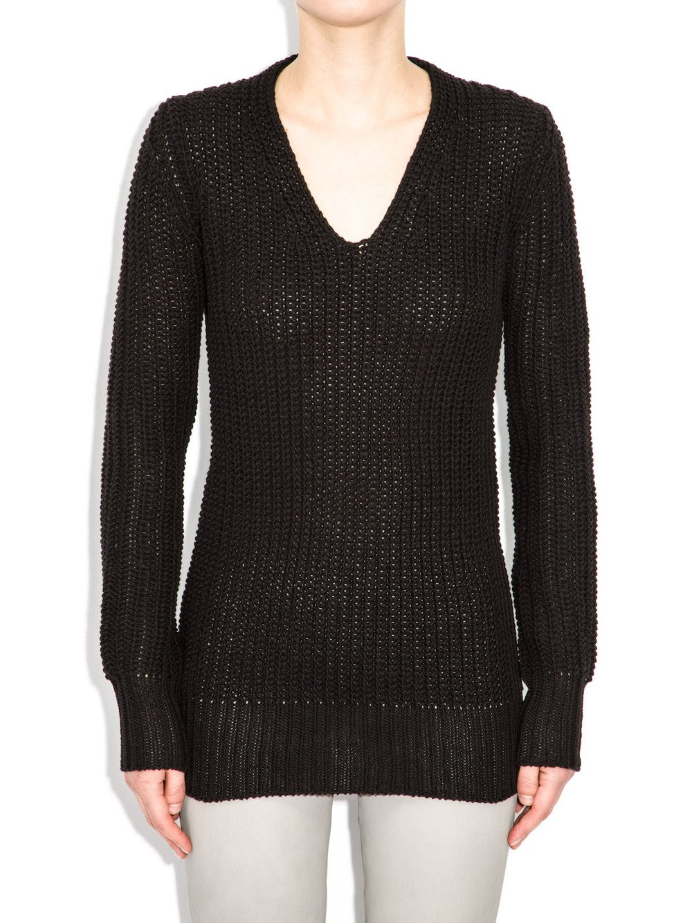 rick owens long v neck sweater