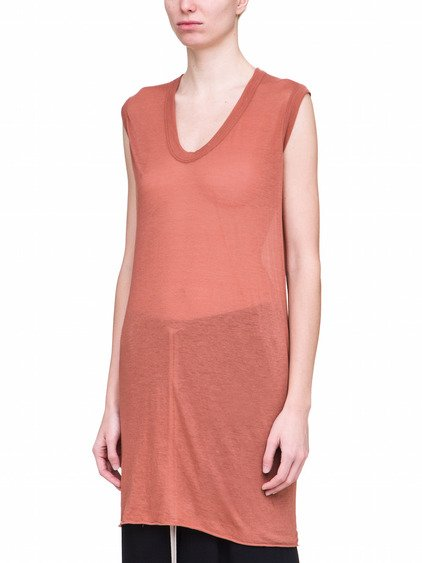 RICK OWENS V NECK SLEEVELESS TEE IN TERRA PINK