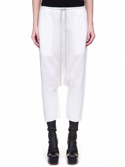 RICK OWENS CROPPED DRAWSTRING PANTS IN MILK WHITE BOILED CASHMERE