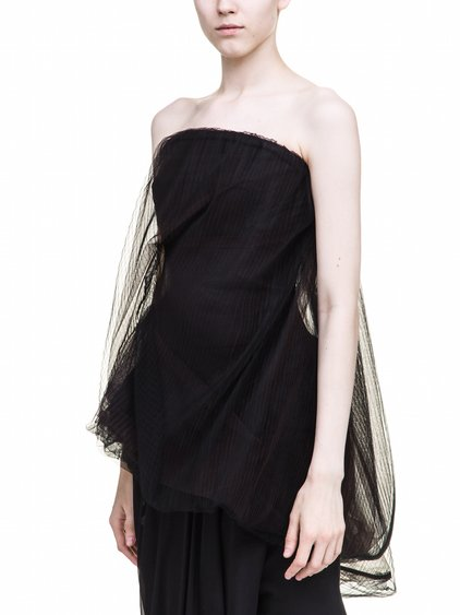 RICK OWENS TWIST STRAPLESS TOP IN BLACK MIX TULLE