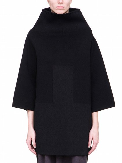 RICK OWENS OFF-THE-RUNWAY CRATER SWEATER IN BLACK FEATURES AN OVERSIZED FIT