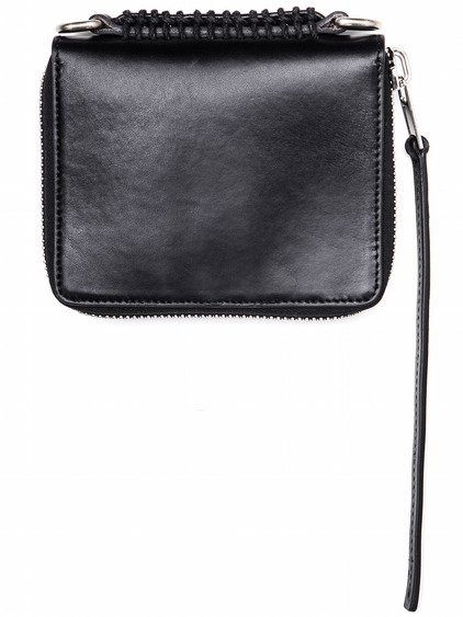 RICK OWENS SMALL ZIPPED WALLET IN BLACK BULL LEATHER