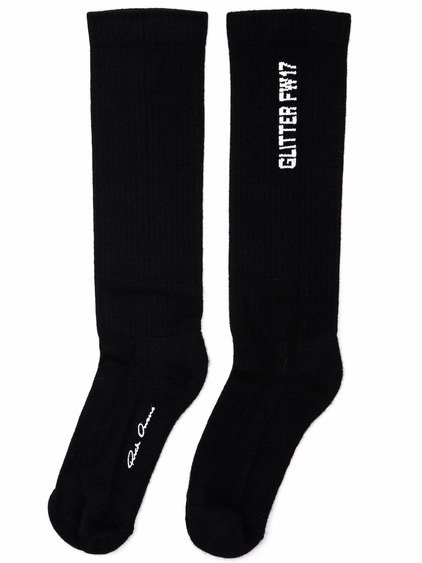 RICK OWENS FW17 GLITTER THONG TOED SOCKS IN BLACK AND MILK WHITE