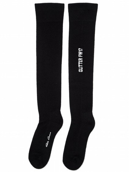 RICK OWENS FW17 GLITTER KNEE HIGH SOCKS IN BLACK AND MILK WHITE CASHMERE