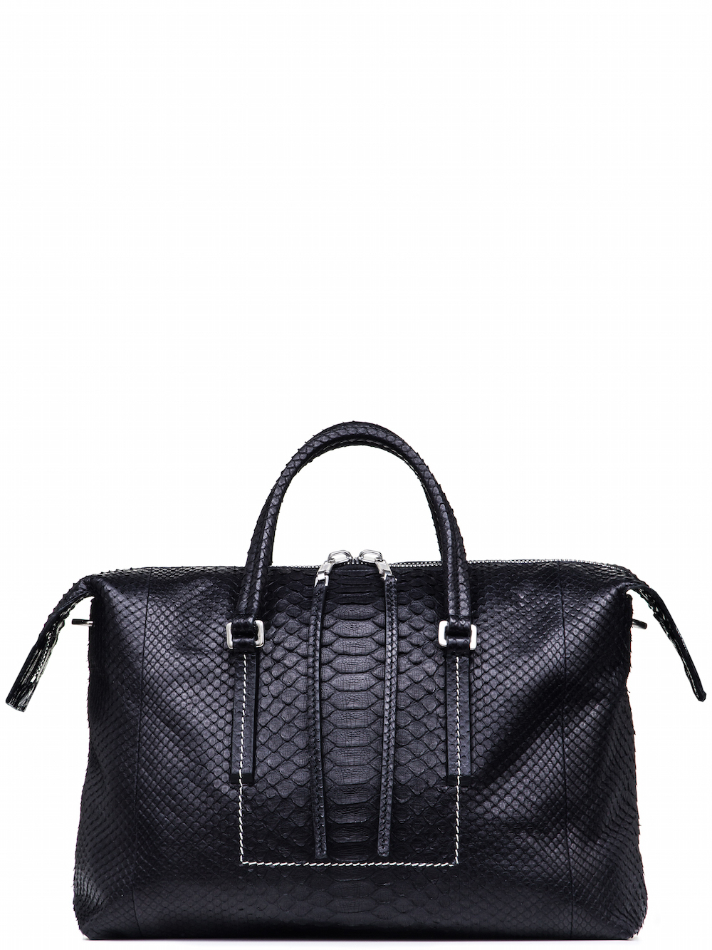 RICK OWENS CITY BAG IN BLACK GIANT PYTHON LEATHER