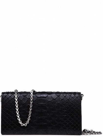 RICK OWENS BAGUETTE BAG IN BLACK GIANT PYTHON LEATHER