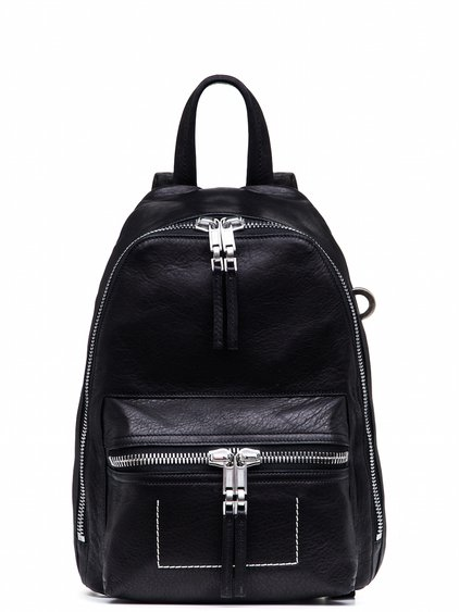 RICK OWENS MINI BACKPACK IN BLACK CALF LEATHER FEATURES