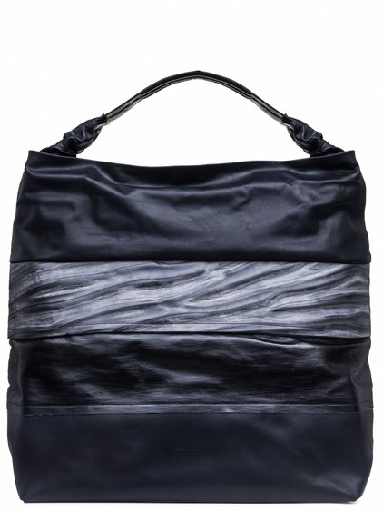 RICK OWENS GLITTER JUMBO ADRI BAG IN BLACK DARK STRIPES