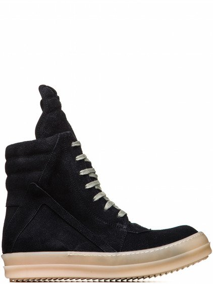 RICK OWENS SS18 DIRT GEOBASKETS IN FADED BLACK CALF LEATHER