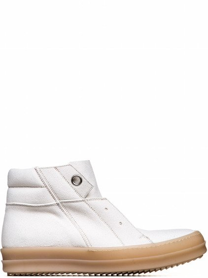 RICK OWENS  ISLAND DUNK PULL-ON SHOES IN NATURAL WHITE CALF LEATHER