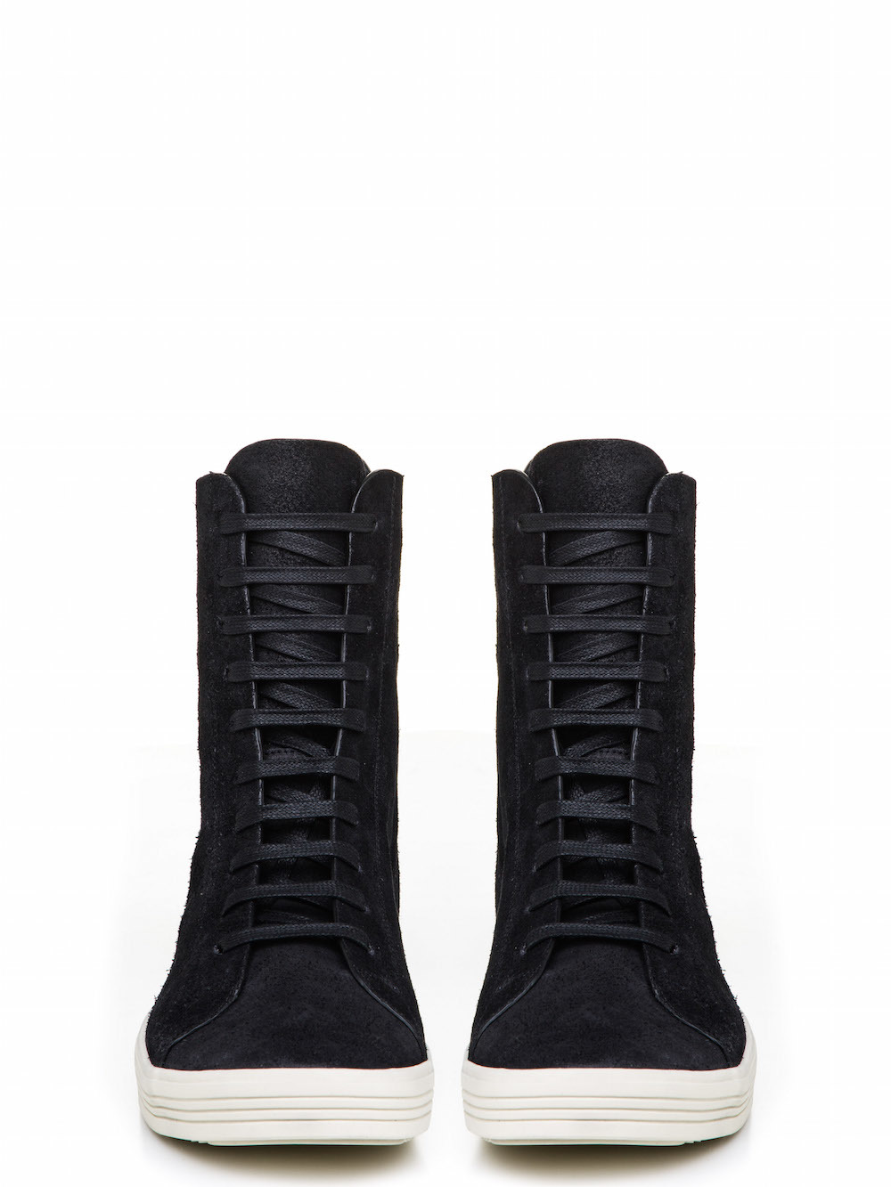 RICK OWENS  MASTODON SNEAKERS IN FADED BLACK CALF LEATHER