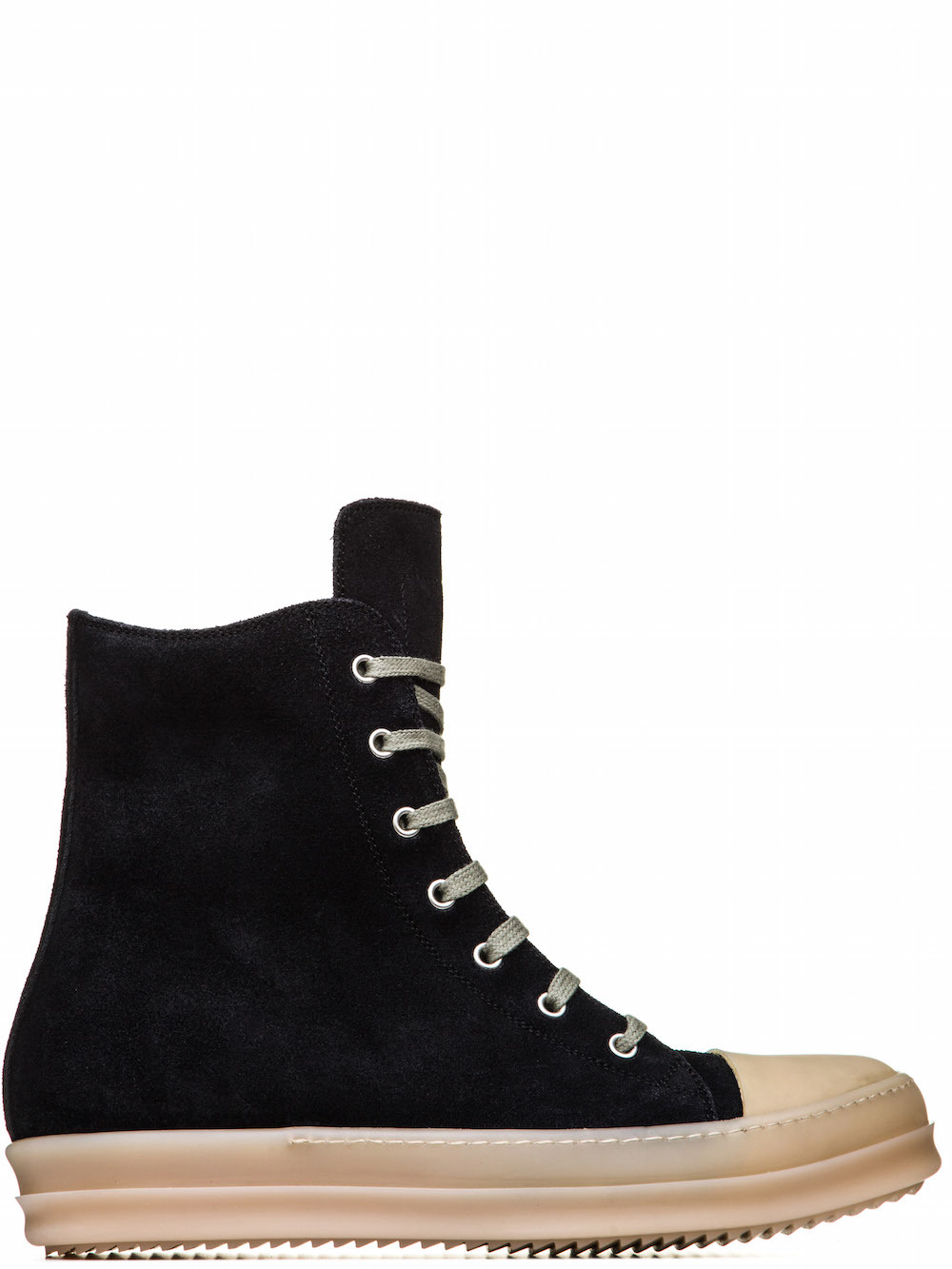 RICK OWENS RUBBER SNEAKERS IN FADED BLACK CALF LEATHER