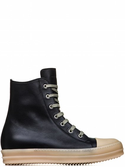 RICK OWENS RUBBER SNEAKERS IN BLACK CALF LEATHER